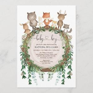 Rustic Woodland Forest Animals Baby Boy Shower Invitation