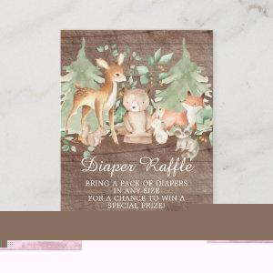 Rustic Woodland Forest Animals Baby Diaper Raffle Enclosure Card