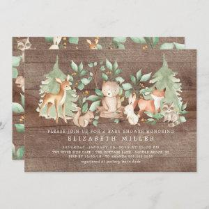 Rustic Woodland Forest Animals Baby Shower Invitation