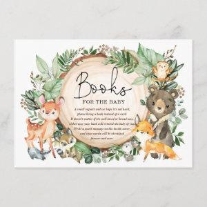 Rustic Woodland Forest Greenery Books for Baby Enclosure Card