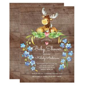 Rustic Woodland Moose Baby Shower Invitation
