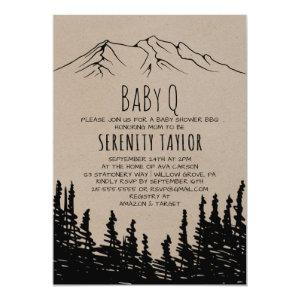 Rustic Woodsy Mountain Baby Q Invitation