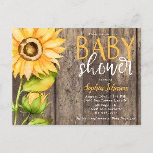 Rustic Yellow Sunflower Floral Baby Shower  Postcard