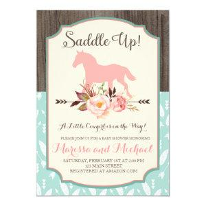 Saddle Up Western Baby Shower Invitations