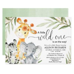 Safari animal wild one gender neutral baby shower invitation