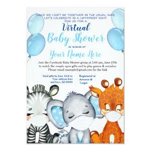 Safari Animal with Masks Virtual Shower Baby Boy I Invitation