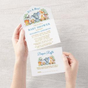 Safari Animals Blue Baby Shower and Raffle Gold All In One