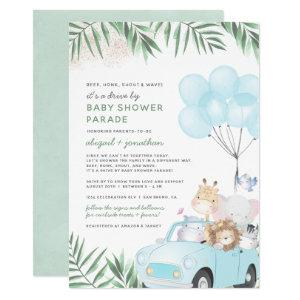 Safari Animals Drive By Baby Boy Shower Invitation