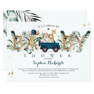 Safari Animals Drive By Baby Shower Greenery Gold Invitation