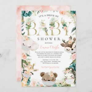 Safari Animals Drive By Baby Shower Greenery Pink Invitation