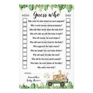 Safari Animals Guess Who Baby Shower Game Card