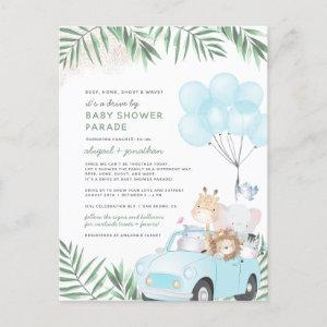 Safari Animals & Palm Leaves Drive By Baby Shower Invitation Postcard