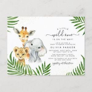 Safari Animals & Palm Leaves Wild One Baby Shower Invitation Postcard