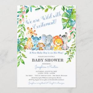 Safari Animals Wild Jungle Boy Baby Shower Invitation