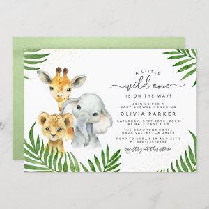 Safari Animals Wild One Gender Neutral Baby Shower Invitation