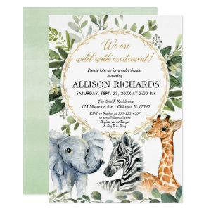 Safari baby shower, gender neutral jungle animals invitation