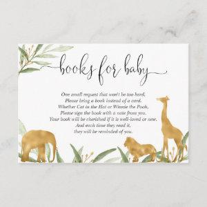 Safari book request, greenery gold green enclosure card