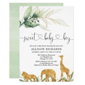 Safari boy baby shower invitation sweet baby boy