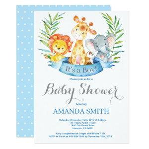 Safari Jungle Animals Boy Baby Shower Invitation