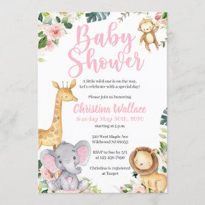 Safari Jungle Baby Shower Invitations for Girls