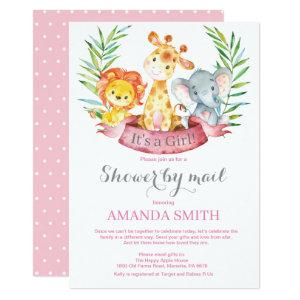 Safari Jungle Girl Baby Shower by Mail Invitation