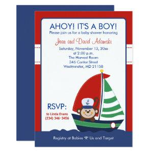 Sailboat Monkey Invitation 4.5 x 6.25