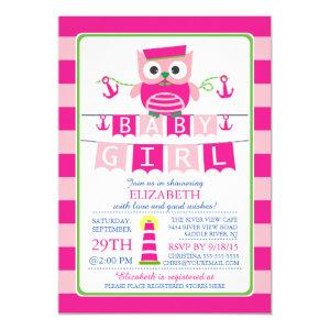 Sailor Owl Nautical Girl Baby Shower Invitation