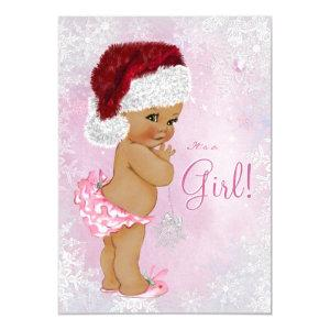 Santa Hat Baby Girl Winter Wonderland Baby Shower Invitation