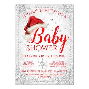 Santa Hat Snowflake Christmas Baby Shower Invitation
