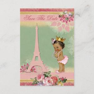 Save The Date Ethnic Princess Paris Baby Shower