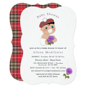 Scottish Tartan |Thistle Flower Cute Baby Shower Invitation