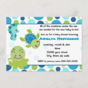 sea creatures under the sea invitation