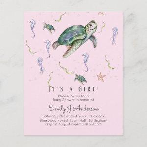 Sea Turtle and Friends Baby Boy or Girl Shower Inv