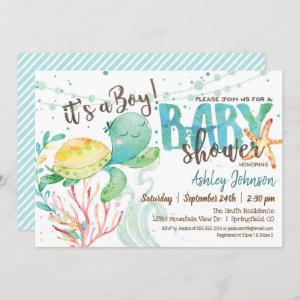Sea Turtle, Ocean Baby Shower invitation, Boy Invitation