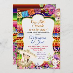 Senorita Fiesta Couple Shower Gold Girl Invitation