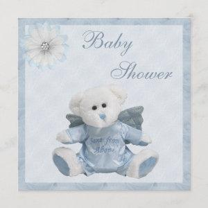 Sent From Above Angel Teddy Boys Baby Shower Invitation