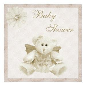 Sent From Above Angel Teddy Neutral Baby Shower Invitation