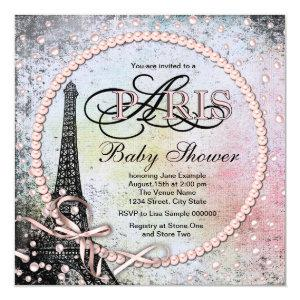 Shab Chic Paris Baby Shower Invitation