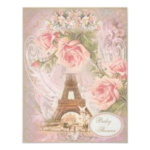 Shabby Chic Eiffel Tower Pink Floral Baby Shower Invitation