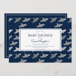 Shark Pattern Dark Blue Gray Baby Shower Invitation