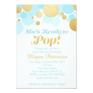 She's Ready to Pop! Blue and Gold Invitation