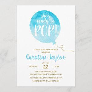 She's Ready to Pop Blue & Gold Baby Shower Invitation