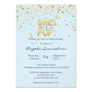 She's Ready to POP Blue Gold Boy Baby Shower Invitation