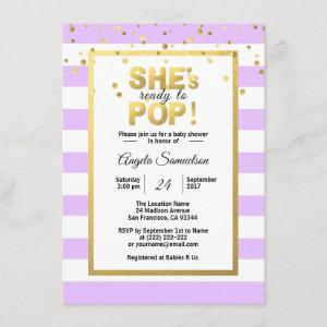 She's Ready to POP Gold Lavender Baby Shower Invitation