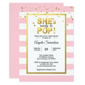 She's Ready to POP Gold Pink Girl Baby Shower Invitation