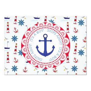 Ships Ahoy, Its a Boy, Baby Shower Invitation
