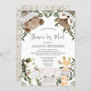 Shower by Mail cute animals with masks baby shower Invitation