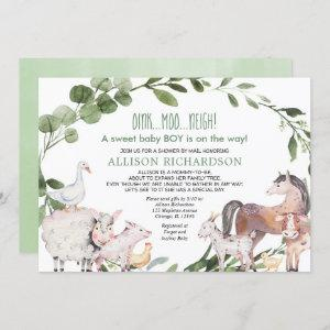 Shower by mail Farm Barnyard animals baby boy Invitation