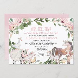Shower by mail Farm Barnyard animals baby girl Invitation