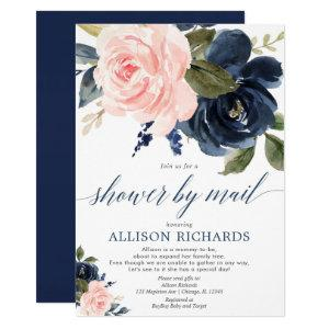 Shower by mail floral pink navy blue baby shower invitation